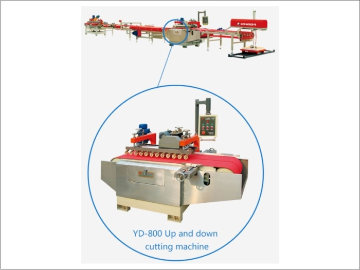 automatic Up Down tiles cutting and squaring and Chamfering Line